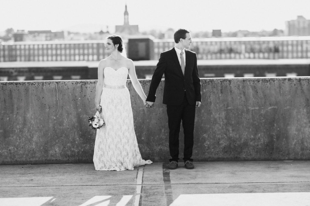 bride and groom rooftop