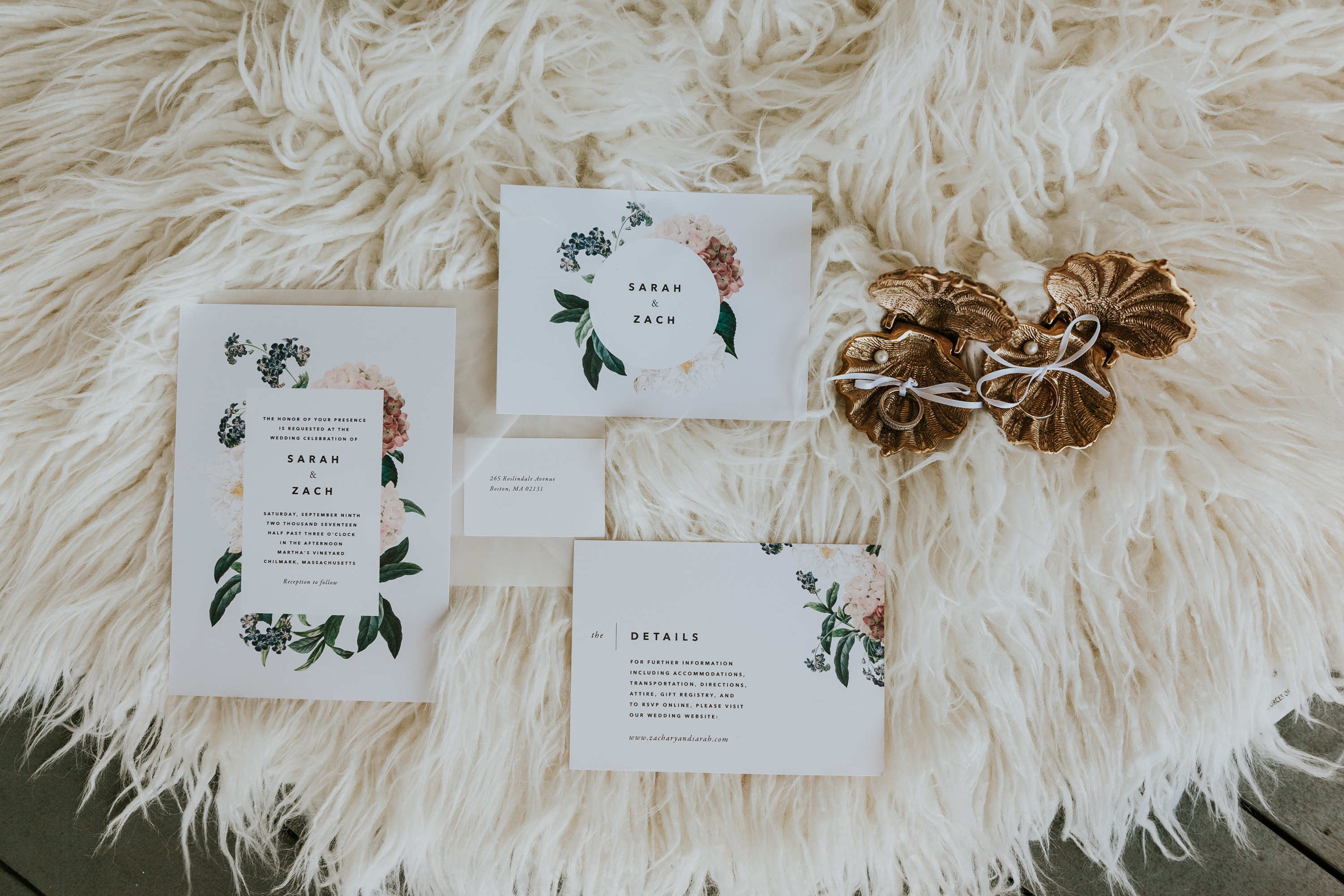 Invitation Suite, sarah and zach wedding invitations, floral invitation suite, wedding day details, floral invites on sheepskin rug, wedding rings in seashell