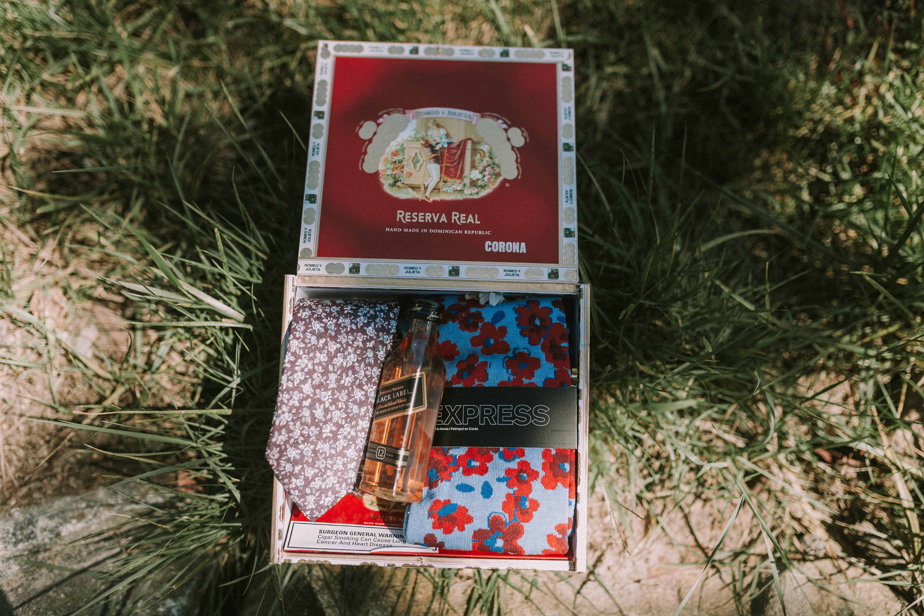 groomsmen gift, tie, groomsmen box on grass, whisky, nip, express tie, groomsmen gift cigar box, cigar box gift
