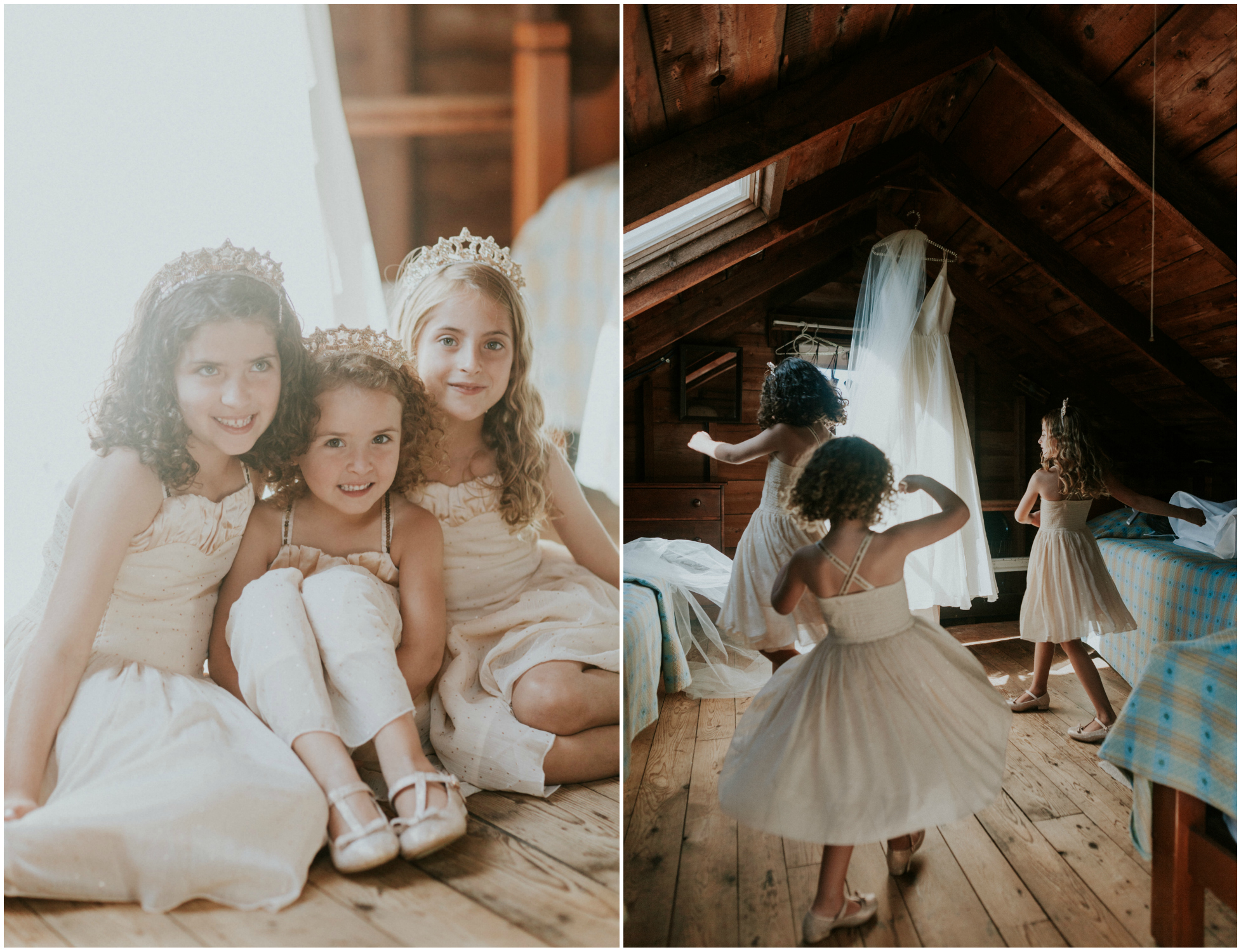 flower girls in attic, flower girls twirling near wedding dress, flower girls wearing crowns