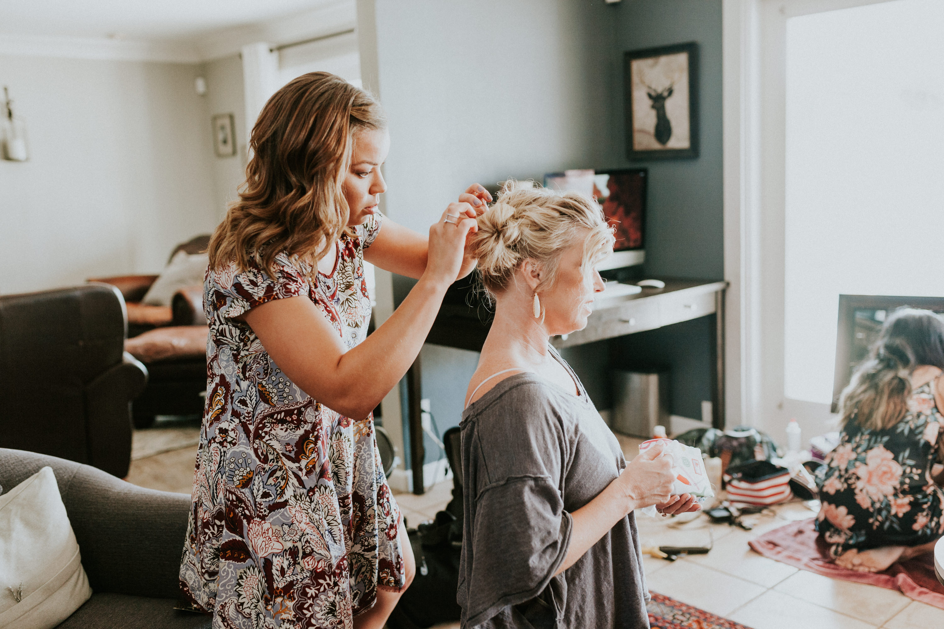 mother of the bride getting her hair done