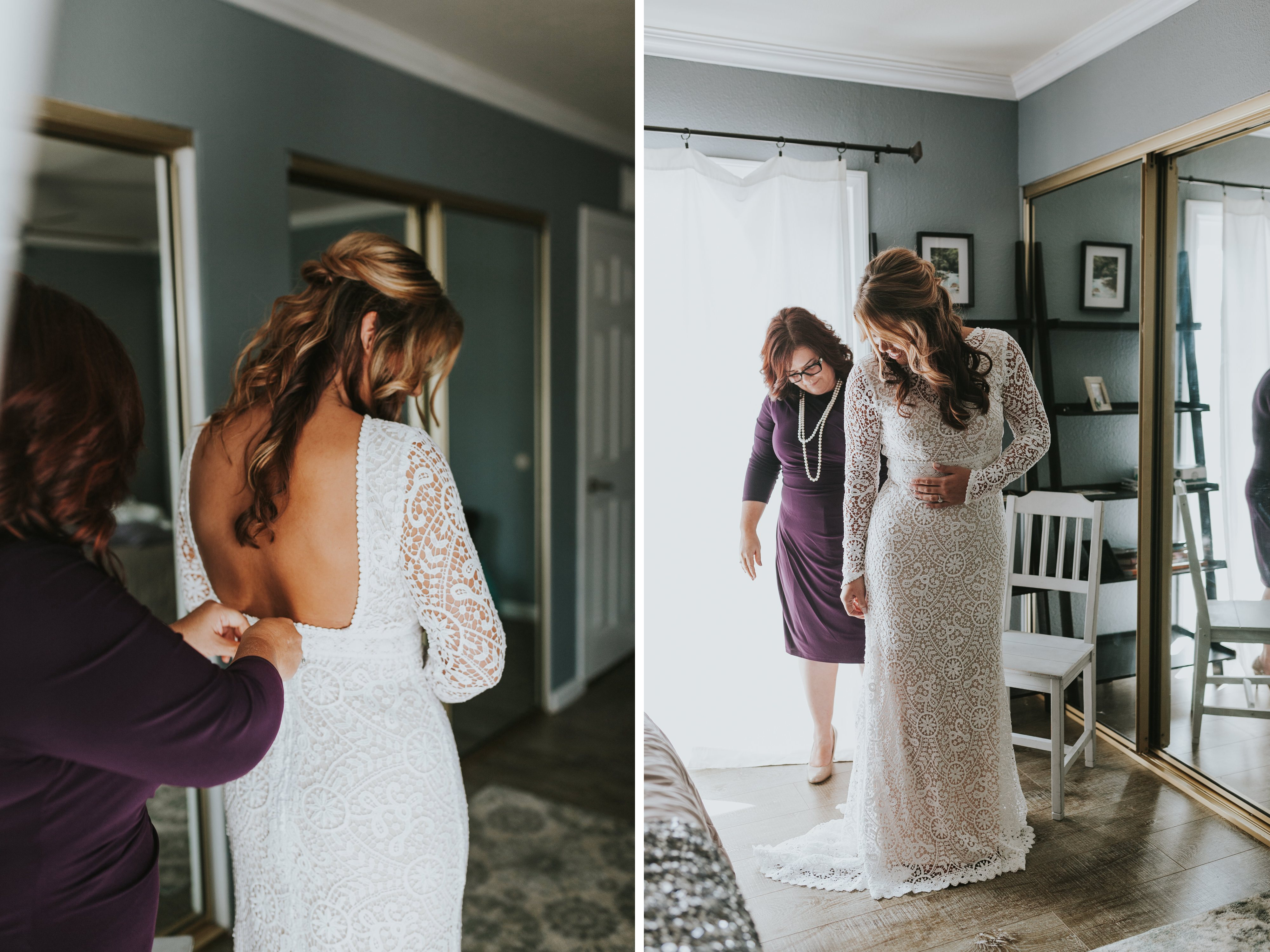 bride getting her dress on, mother of bride zipping up dress