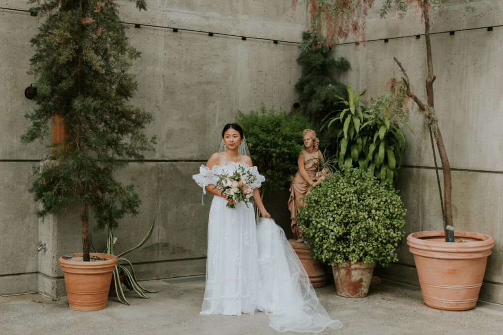 bridal portraits with flowers