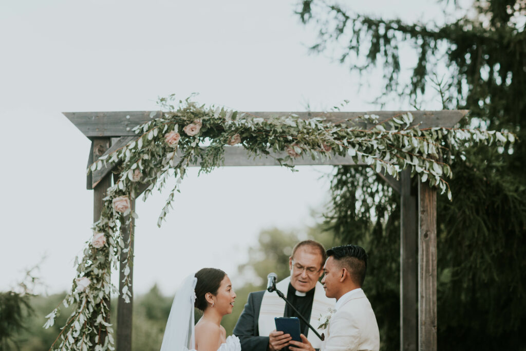 Wedding arbour and flowers