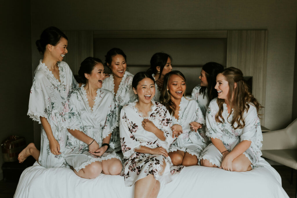 Bridal party getting ready in robes