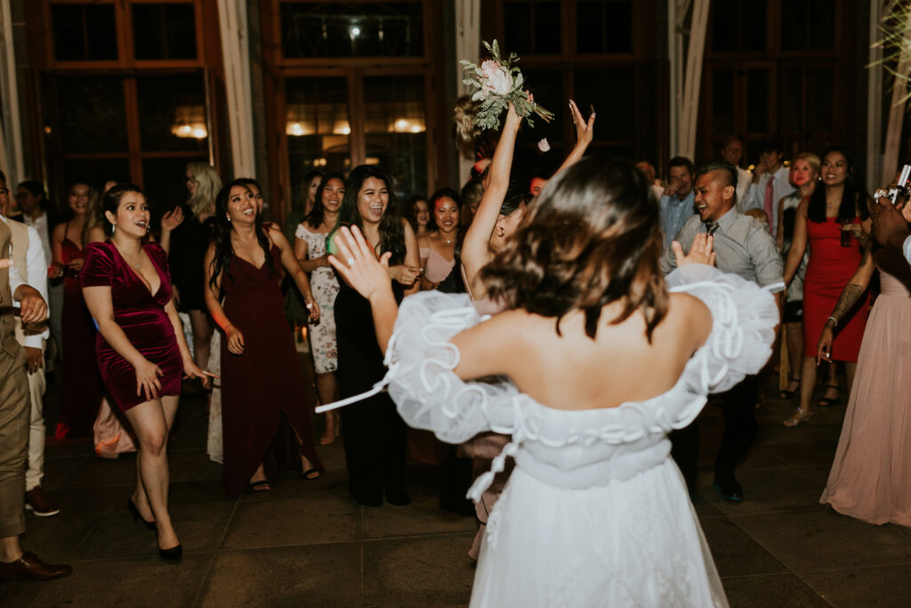 Throwing wedding bouquet